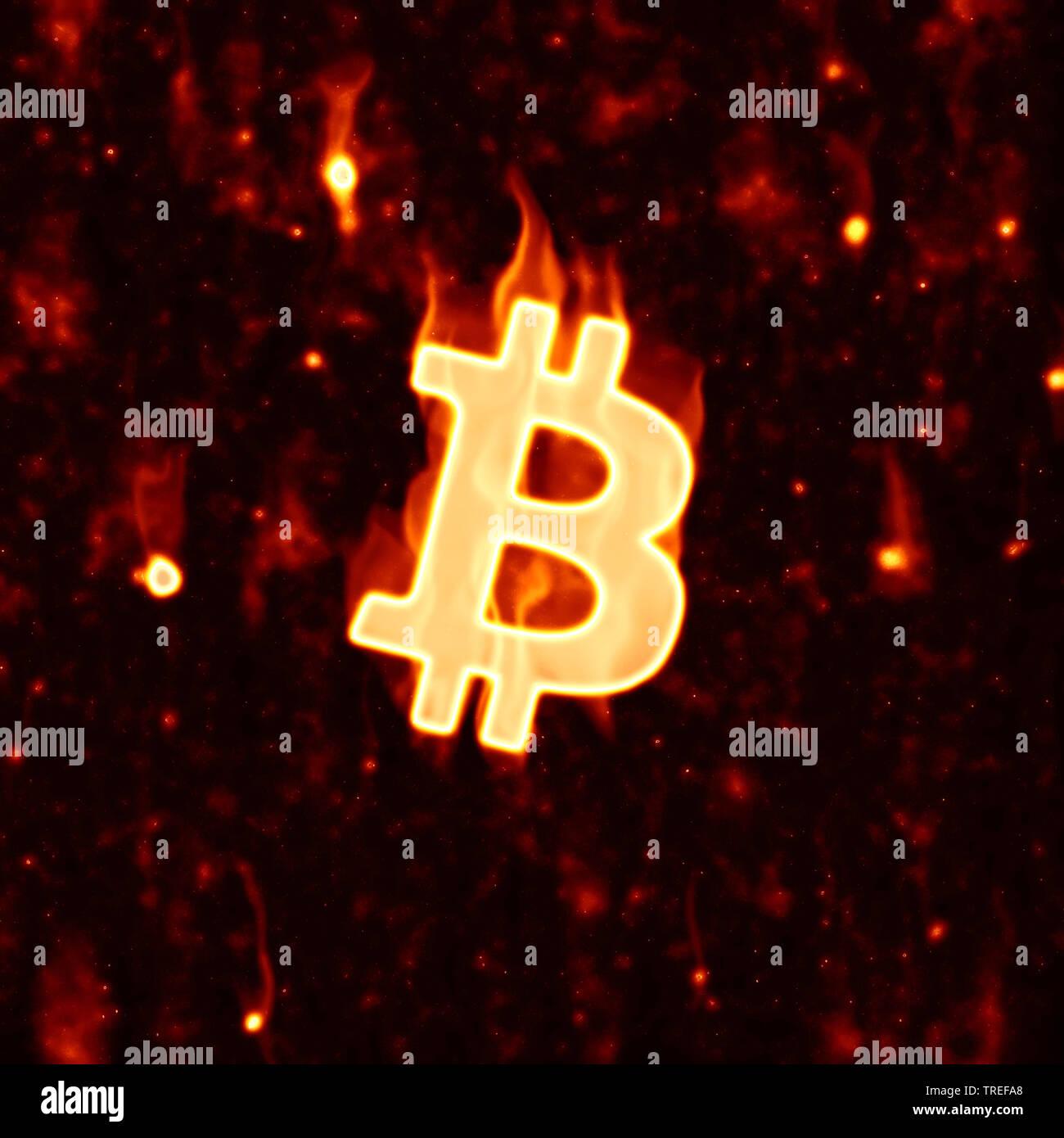 Bitcoin-Symbol, mit angedeutetetn Flammen vor Lava-Hintergrund | Bitcoin symbol with indicated flames against a lava background | BLWS525171.jpg [ (c) - Stock Image