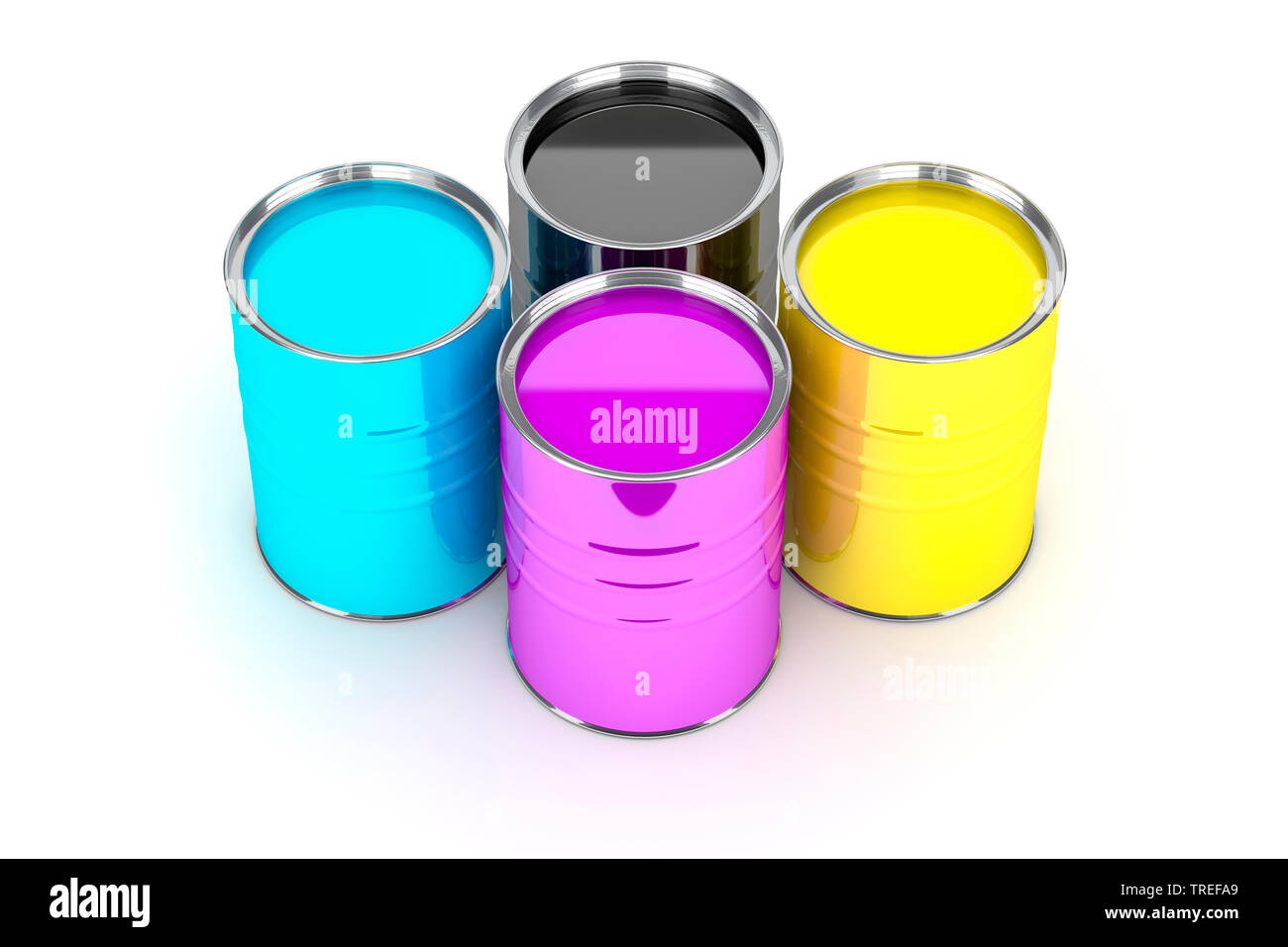 Vier Farbeimer in den Farben des CMYK-Farbmodells vor weissem Hintergrund | Four paint pots with paint in the CMYK colors on white surface | BLWS52516 - Stock Image