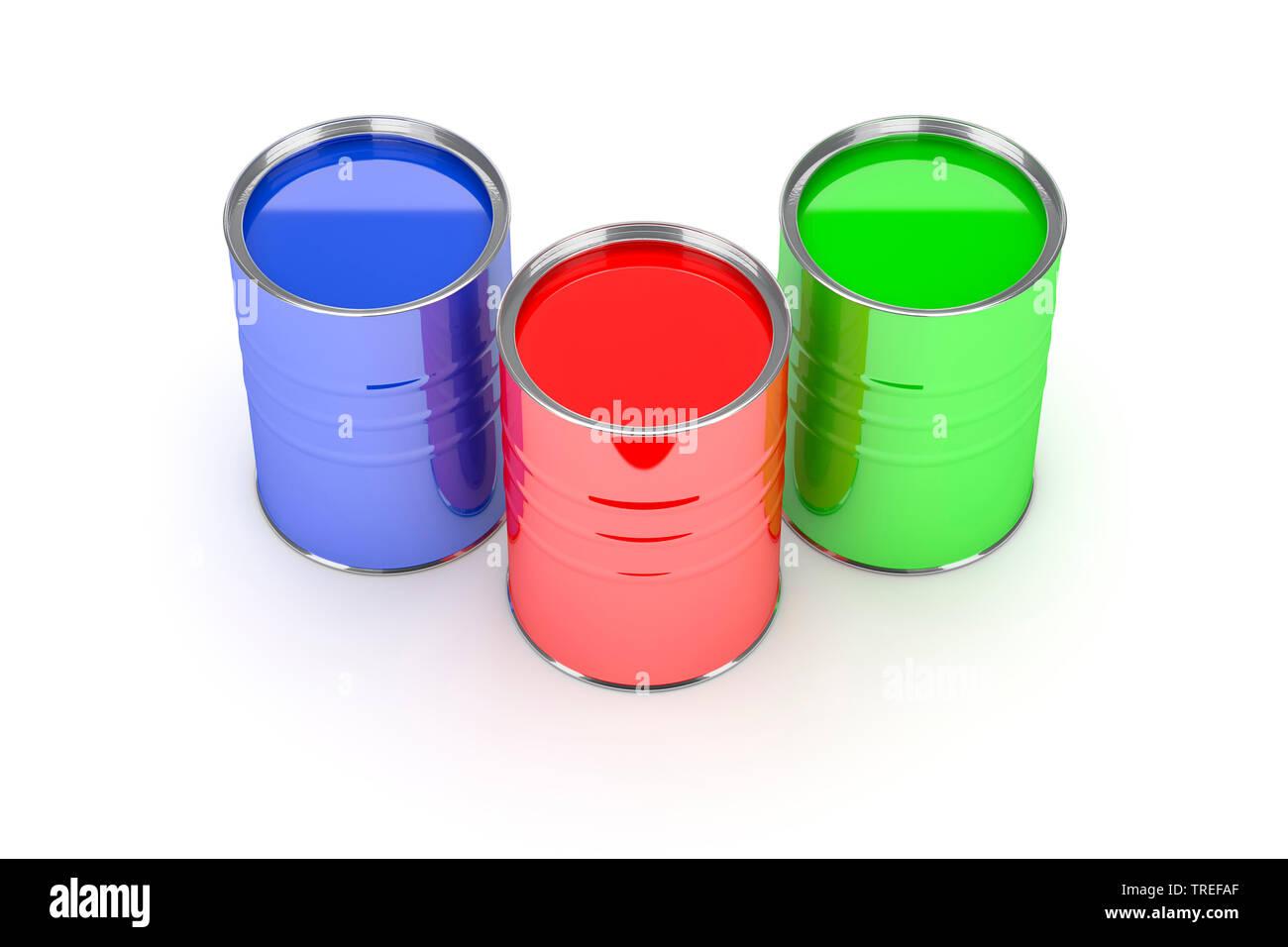 Drei Farbeimer mit Farben in Rot, Gruen und Blau vor weissem Hintergrund | Three paint pots with paint in red, blue and green tones on white surface | - Stock Image