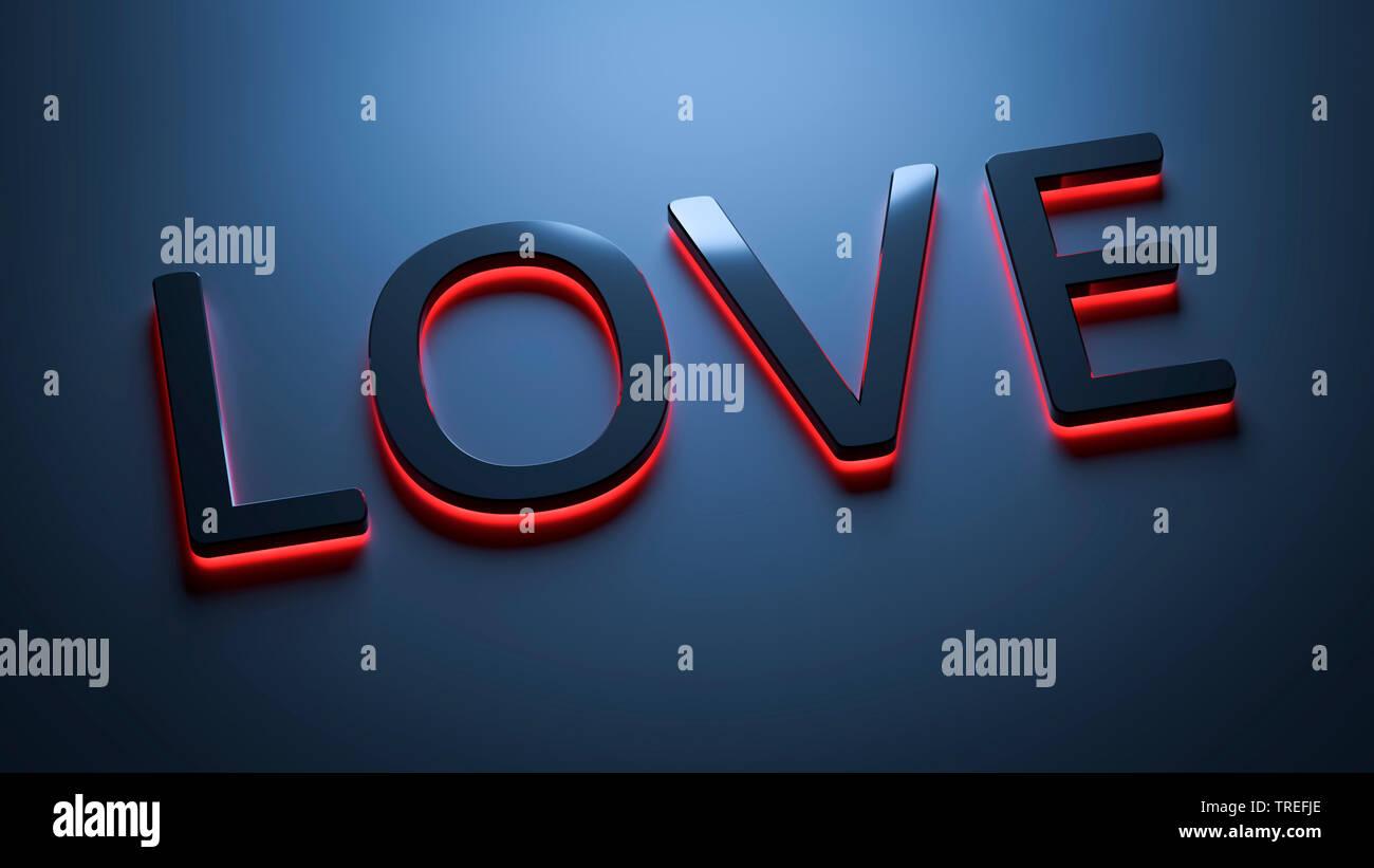 3D-Computergrafik, schwarzer-roter Schriftzug LOVE (Liebe) vor grauem Hintergrund   3D computer graphic, lettering LOVE in black and red against gray - Stock Image