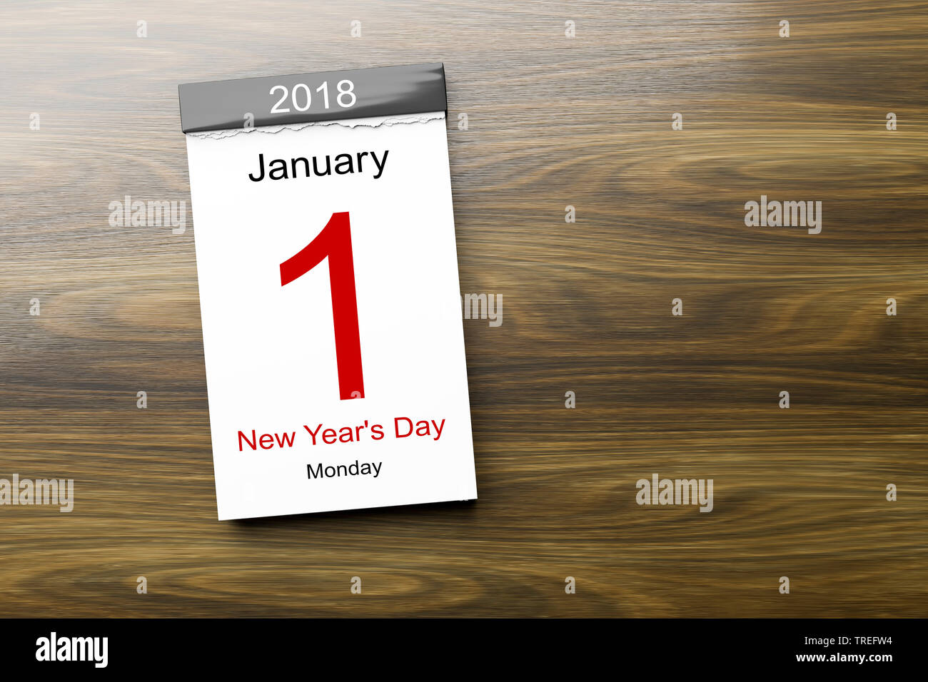 Abreisskalender mit Aufschrift JANUARY 1st 2018 - NEW YEAR'S DAY (1 Januar 2018 Neujahrstag) | Tear-off calendar lettering JANUARY 1st 2018 - NEW YEAR - Stock Image