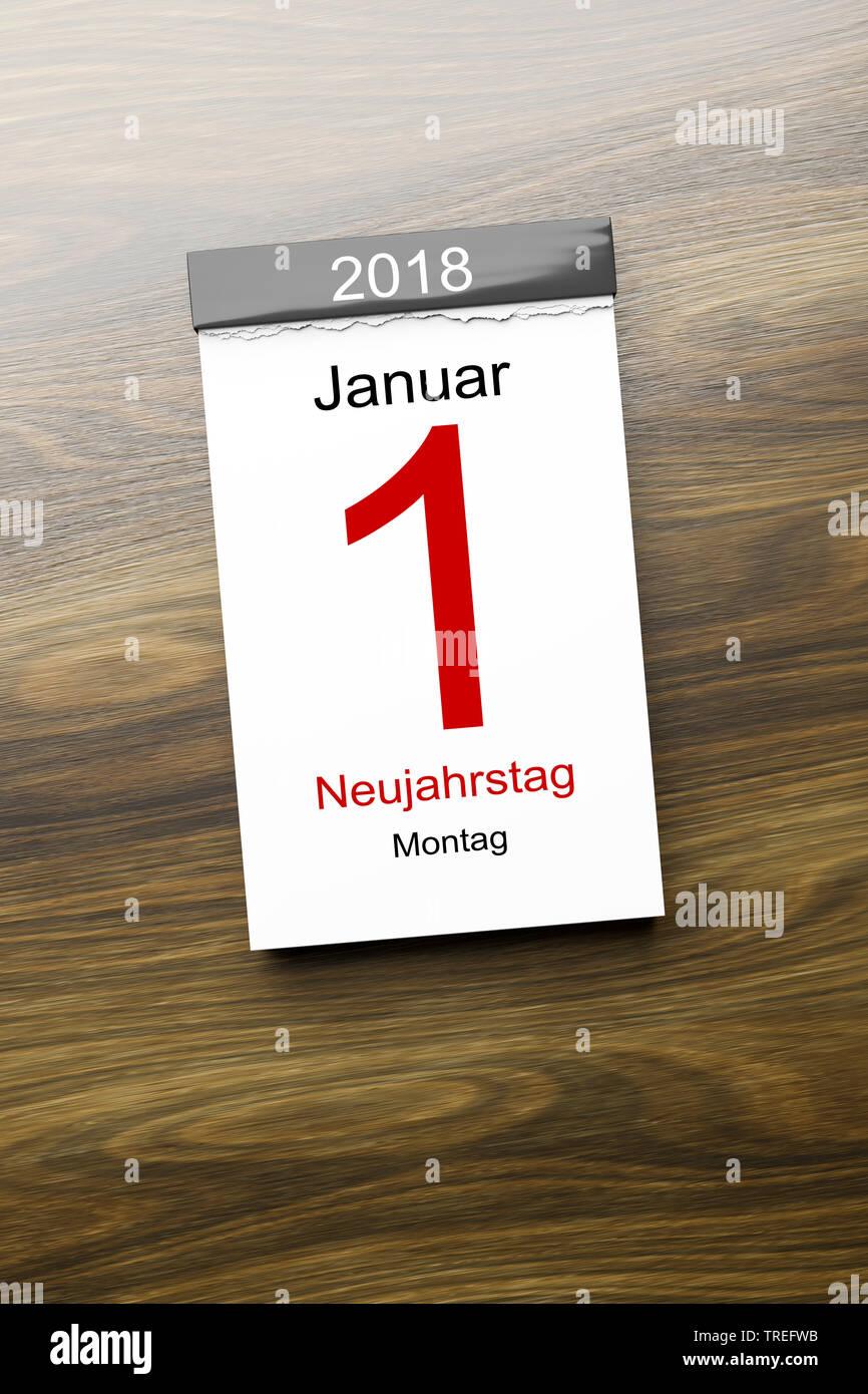 Abreisskalender mit Aufschrift 1 JANUAR 2018 NEUJAHRSTAG | Tear-off calendar lettering 1 JANUAR 2018 NEUJAHRSTAG (January 1st 2018 - New Year's Day) | - Stock Image