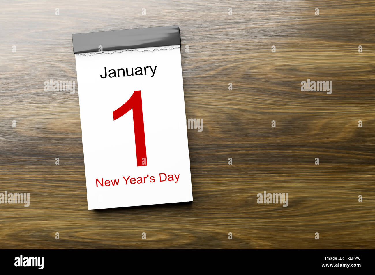 Abreisskalender mit Aufschrift JANUARY 1st - NEW YEAR'S DAY (1 Januar Neujahrstag) | Tear-off calendar lettering JANUARY 1st - NEW YEAR'S DAY | BLWS52 - Stock Image
