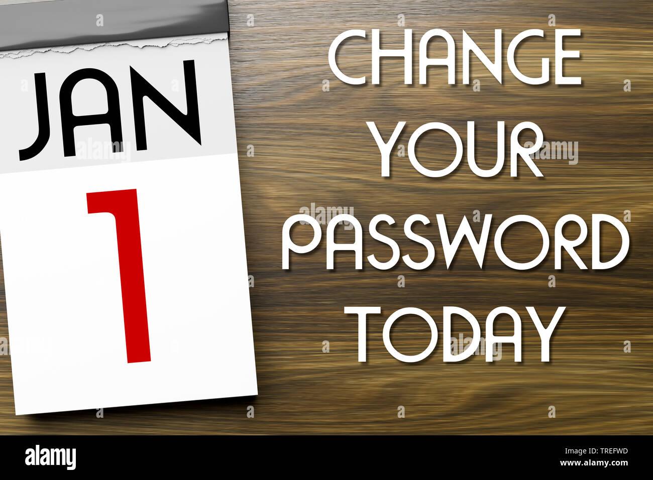 Abreisskalender mit Aufschrift JAN 1 - CHANGE YOUR PASSWORD TODAY (Wechseln Sie Heute Ihr Passwort) | Tear-off calendar lettering JAN 1 - CHANGE YOUR - Stock Image