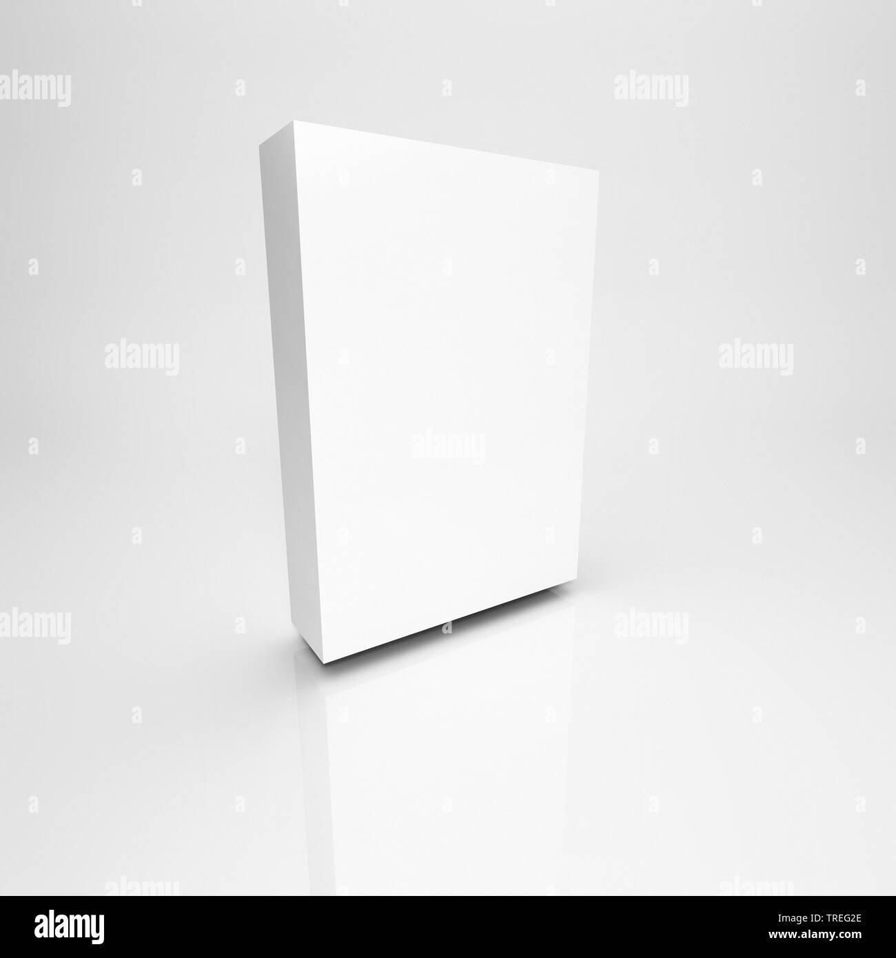 3D-Computergrafik, weisse, quadratische Verpackung ohne Aufdruck vor weissem Hintergrund | 3D computer graphic, white quadratic packing without letter - Stock Image