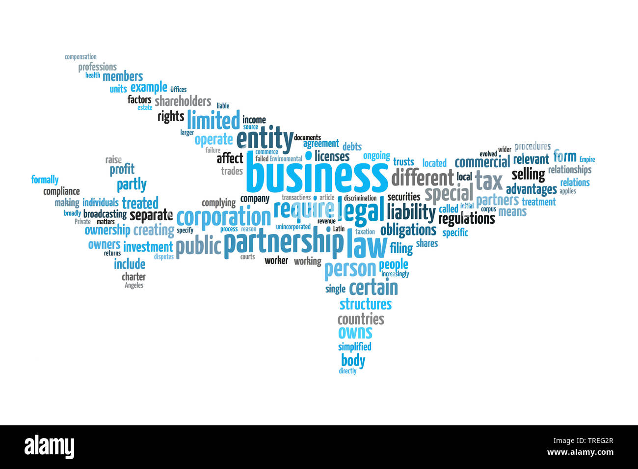 Wortwolke in Form eines Passagierflugzeugs mit Schwerpunkt BUSINESS (Unternehmung), Europa | Tag cloud in the shape of a passenger airplane on the sub - Stock Image