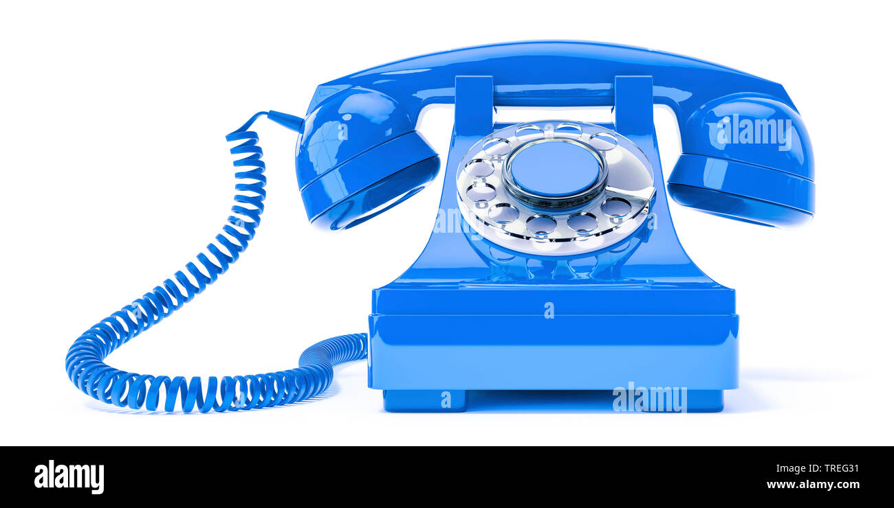3D-Computergrafik, altmodisches Telefon mit Hoerer in Blau vor weissem Hintergrund | 3D computer graphic, vintage telephone set with earphone in blue - Stock Image