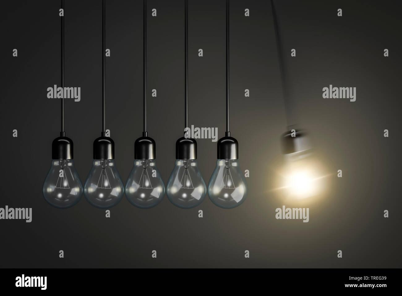 3D-Computergrafik, sechs Gluehbirnen (eine brennend) vor grauem Hintergrund   3D computer graphic, six pendant lamps (one lighted) against grey backgr - Stock Image
