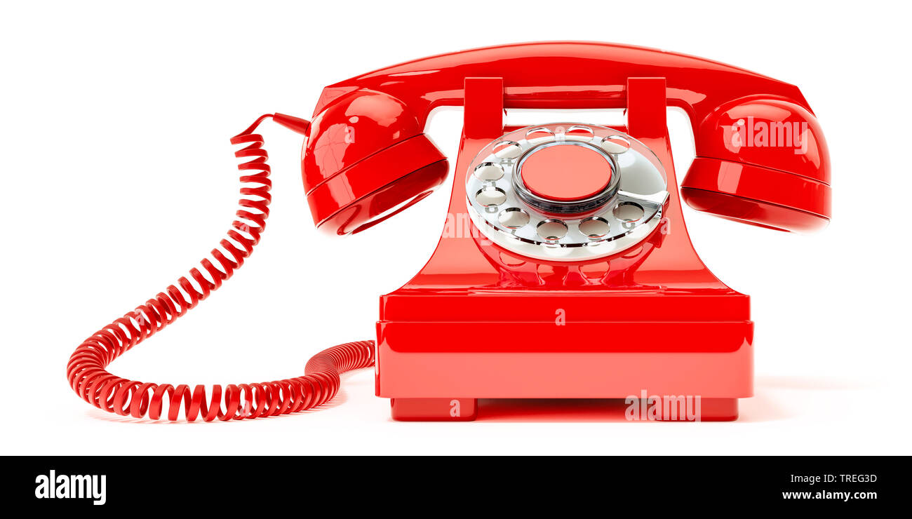 3D-Computergrafik, altmodisches Telefon mit Hoerer in Rot vor weissem Hintergrund | 3D computer graphic, vintage telephone set with earphone in red ag - Stock Image