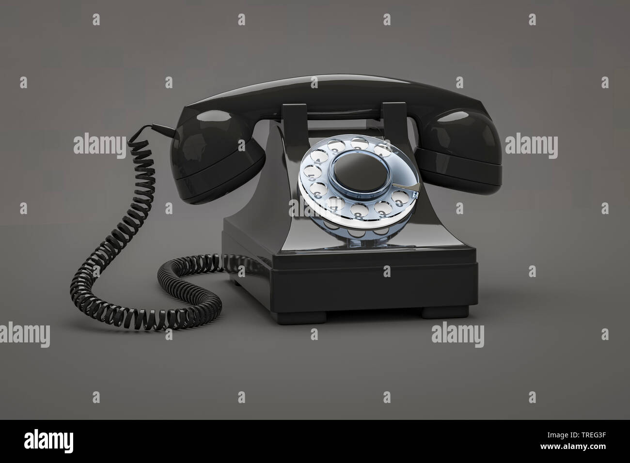 3D-Computergrafik, altmodisches Telefon mit Hoerer in Schwaz vor grauem Hintergrund | 3D computer graphic, vintage telephone set with earphone in blac - Stock Image