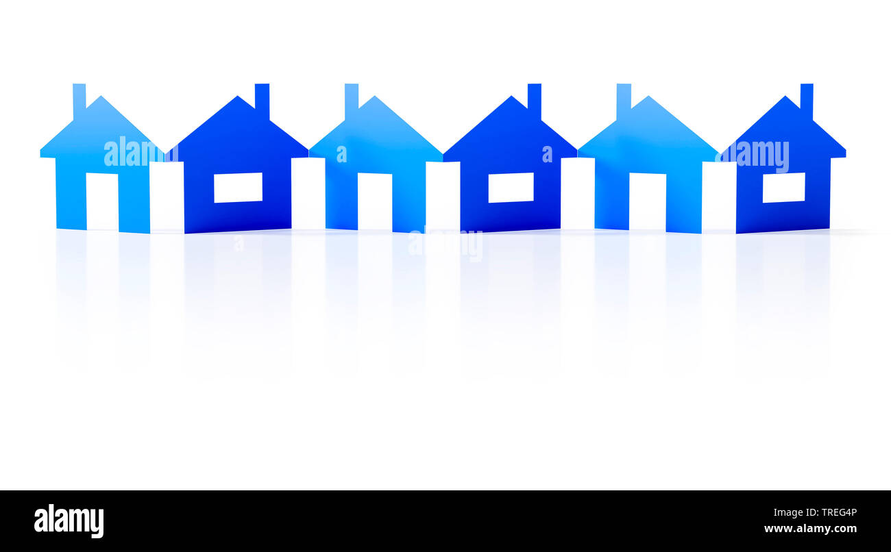 3D computer graphic, paper cutout row of blue houses against white background Stock Photo