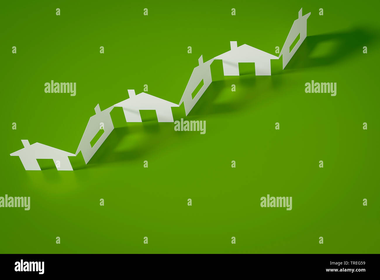 3D-Computergrafik, Scherenschnitt von weissen Haeusern vor gruenem Hintergrund | 3D computer graphic, paper cutout row of white houses against green - Stock Image