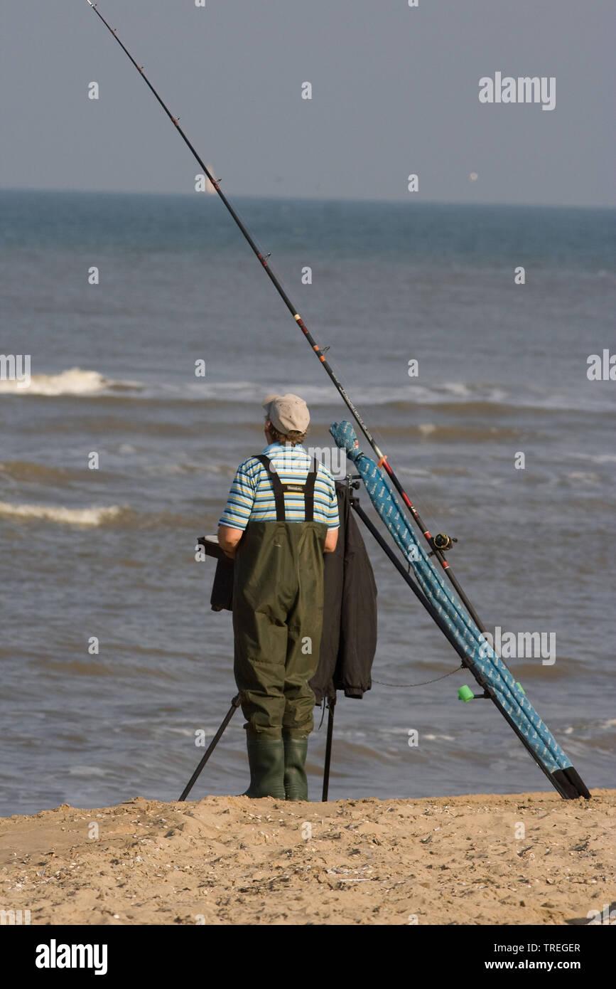 Angler an der Nordsee, Niederlande, Suedholland | Fisherman on the beach, Netherlands, South Holland | BLWS526060.jpg [ (c) blickwinkel/AGAMI/A. Meije - Stock Image