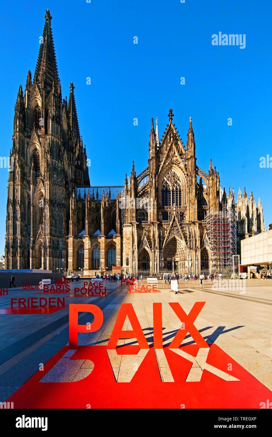 Koelner Dom, Domwallfahrt 2018, Erinnerung an das Ende des Ersten Weltkriegs vor 100 Jahren, Deutschland, Nordrhein-Westfalen, Koeln | Cologne Cathedr - Stock Image
