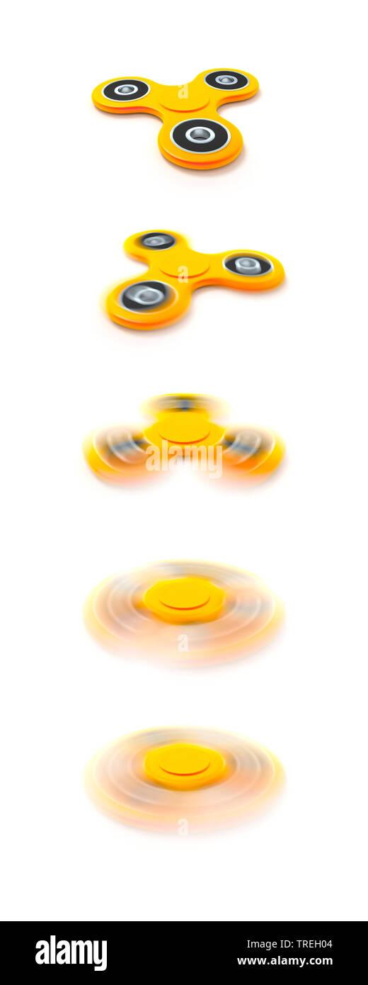 3D-Computergrafik, gelber Fidget Spinner in verschiedenen Stadien der Bewegung | 3D computer graphic, yellow fidget spinner in different states of mot - Stock Image