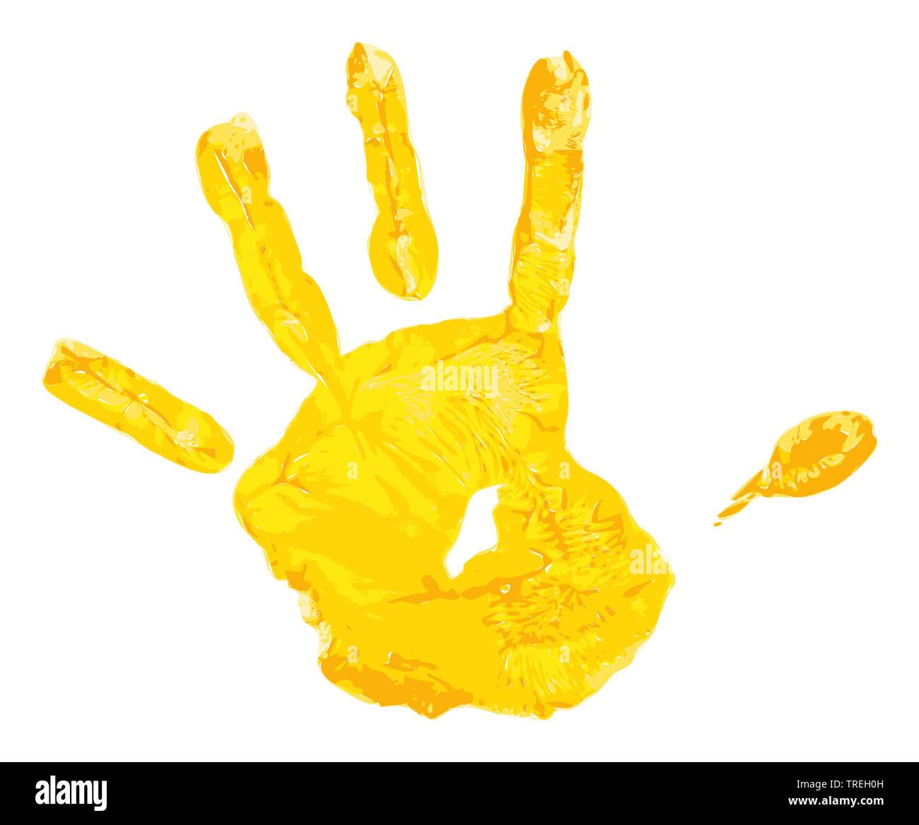 Mit gelber Wasserfarbe erzeugter Kinderhandabdruck vor weissem Hintergrund | Handprint of a child made out of yellow water colors against white backgr - Stock Image