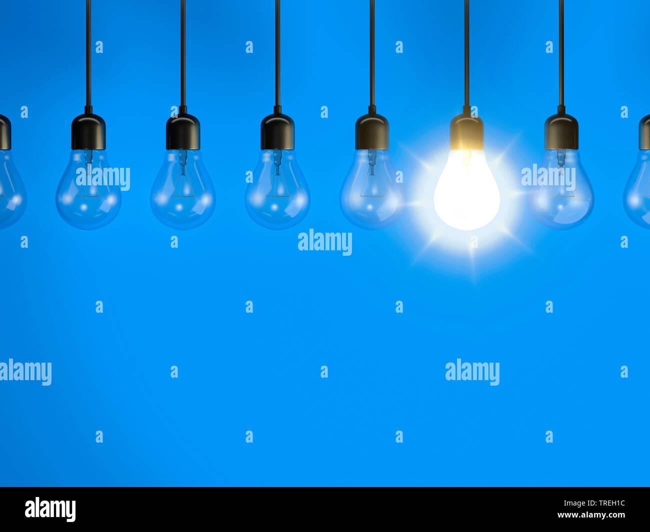 3D-Computergrafik, Gluehbirnen (eine brennend) vor blauem Hintergrund   3D computer graphic, pendant lamps (one lighted) against blue background   BLW - Stock Image