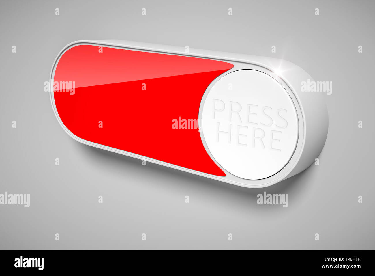 3D-Computergrafik, symbolisierte Taste ohne Aufschrift in Rot | 3D computer graphic, symbolic red button without label  | BLWS526469.jpg [ (c) blickwi - Stock Image
