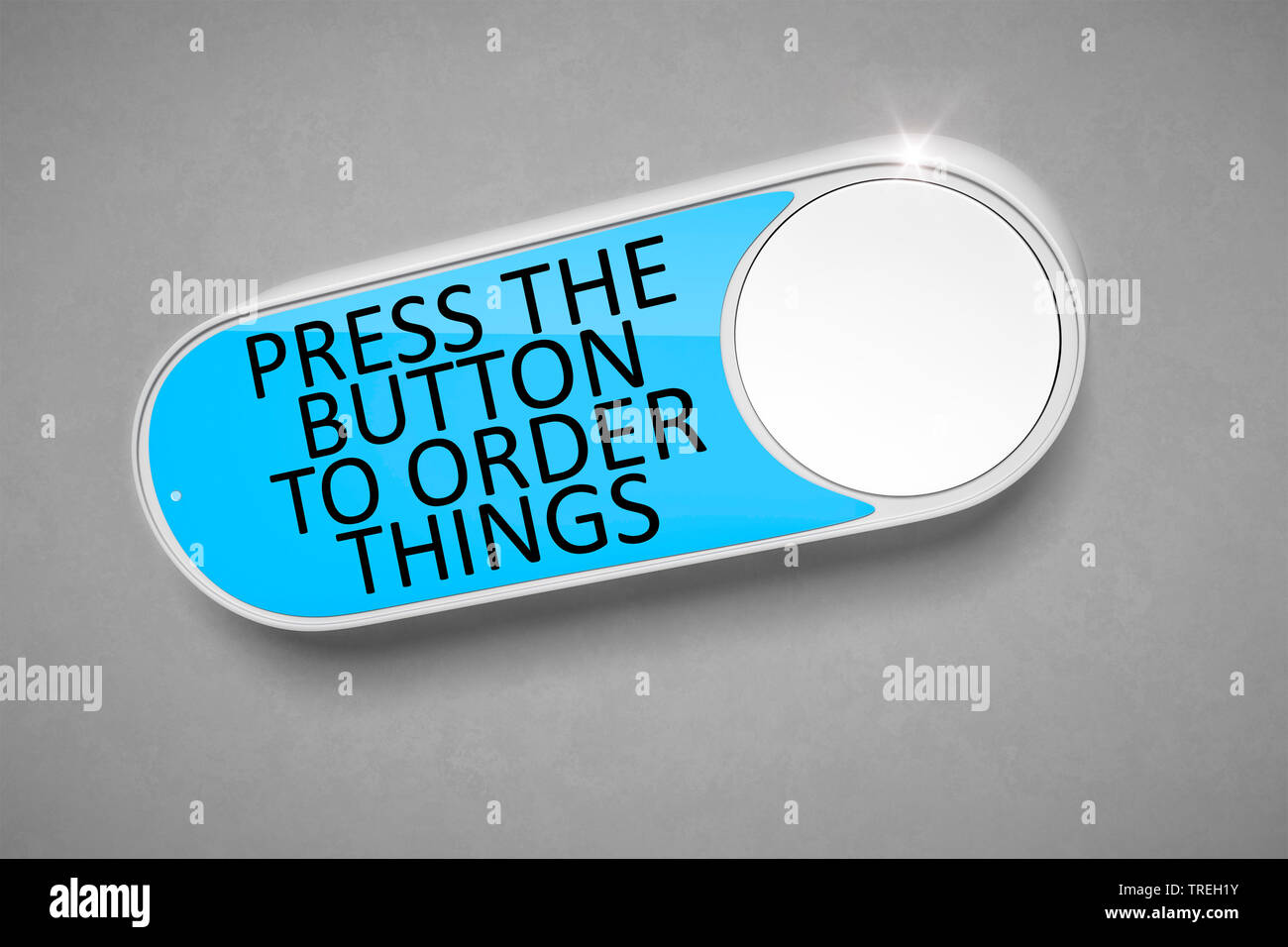 3D computer graphic, symbolic button lettering ORDER THINGS Stock Photo