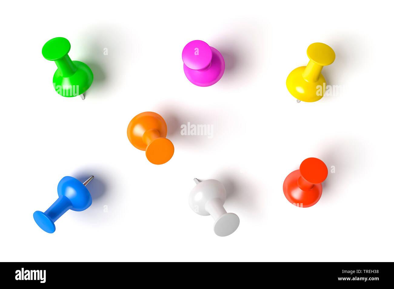 3D-Computergrafik, Reissnaegel in verschiedenen Farben vor weissem Hintergrund | 3D computer graphic, drawing pins in various colors against white bac - Stock Image