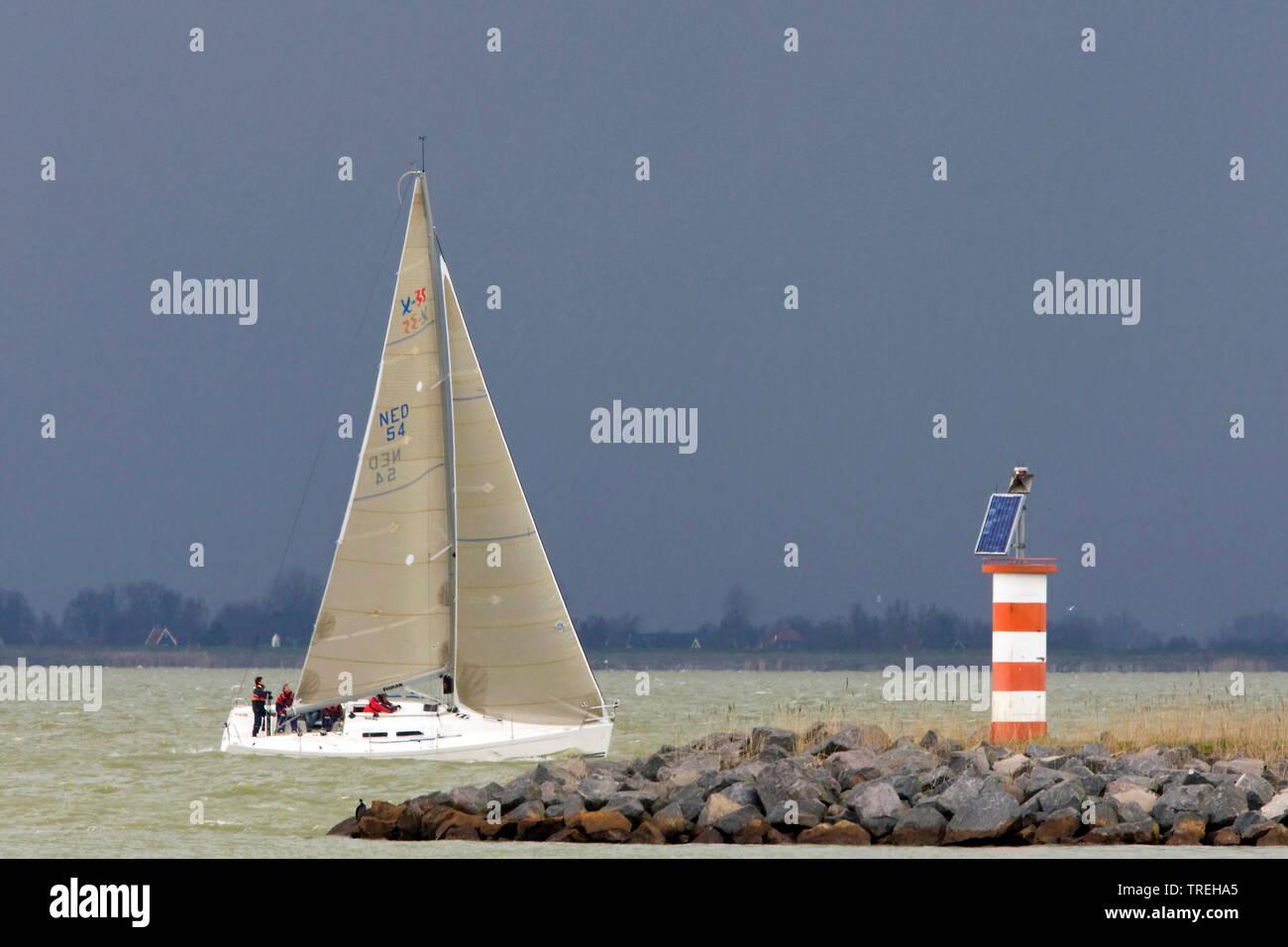 Segelboot auf dem IJsselmeer, Niederlande | Sailing ship on IJmeer, Netherlands | BLWS526708.jpg [ (c) blickwinkel/AGAMI/W. Leurs Tel. +49 (0)2302-279 - Stock Image