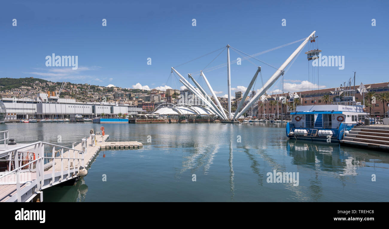 GENOVA, ITALY - MAY 16:  panoramic view of urban renewal area heart at historical harbor of sea town. Shot on a sunny spring day on may 16, 2019 at Ge - Stock Image
