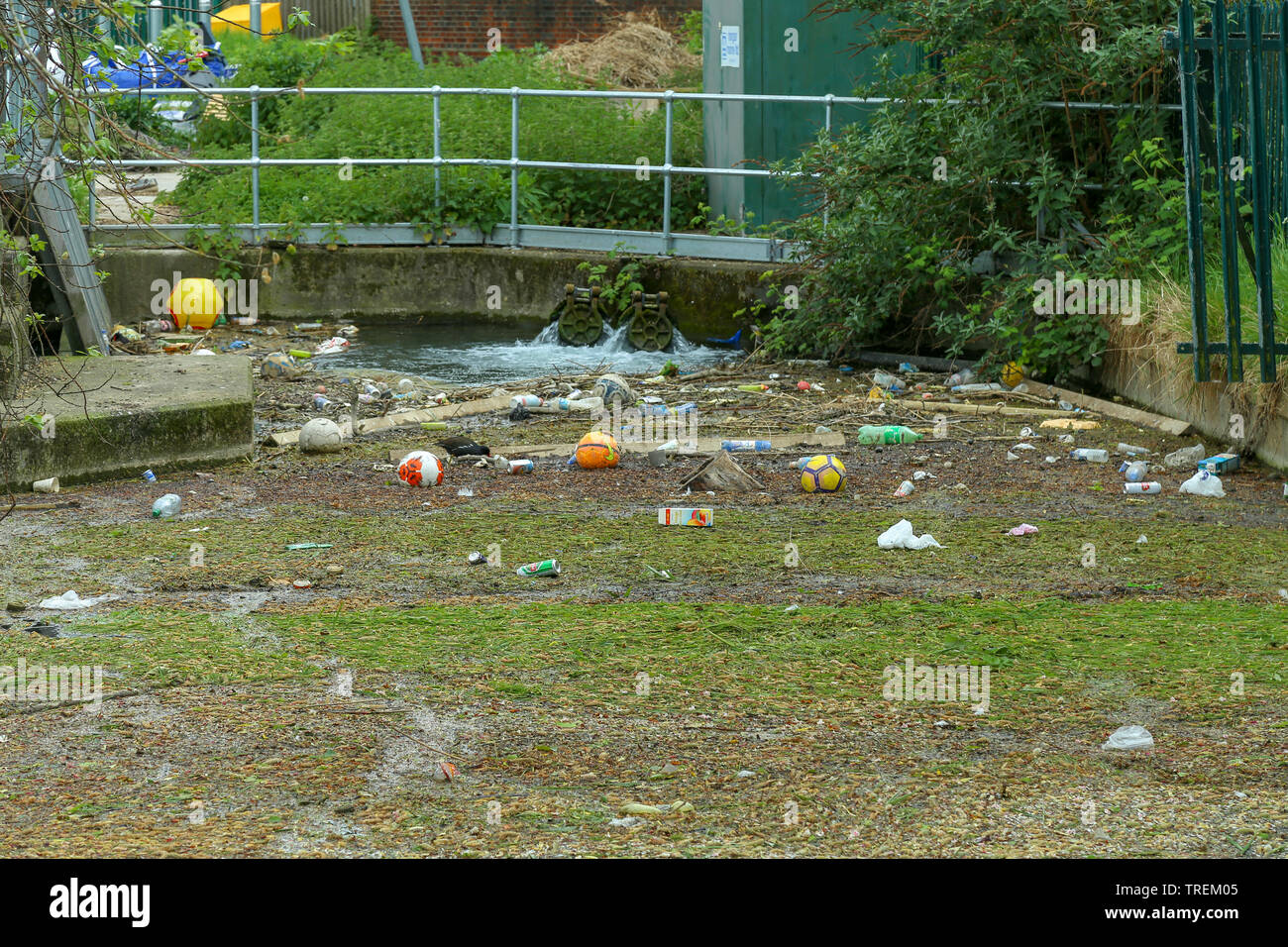 Different type of garbage floating in a canal. Woodberry down, Stokenewington. London, UK. - Stock Image