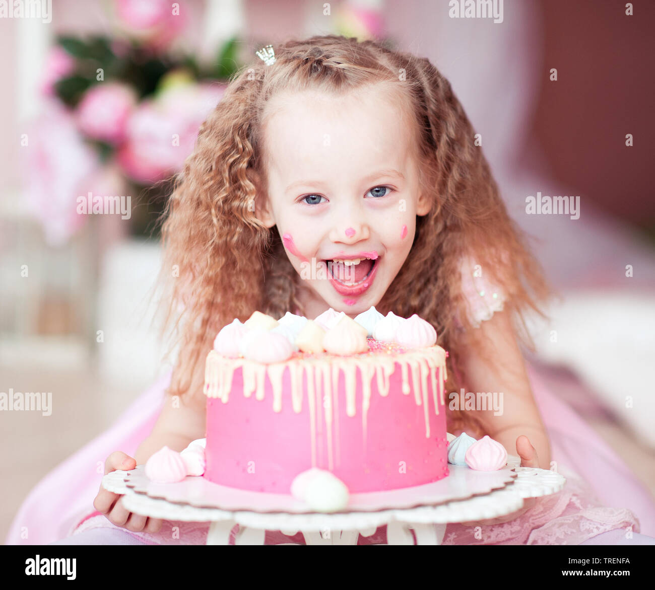 Swell Laughing Kid Girl Eating Birthday Cake With Open Mouth Closeup In Funny Birthday Cards Online Hendilapandamsfinfo