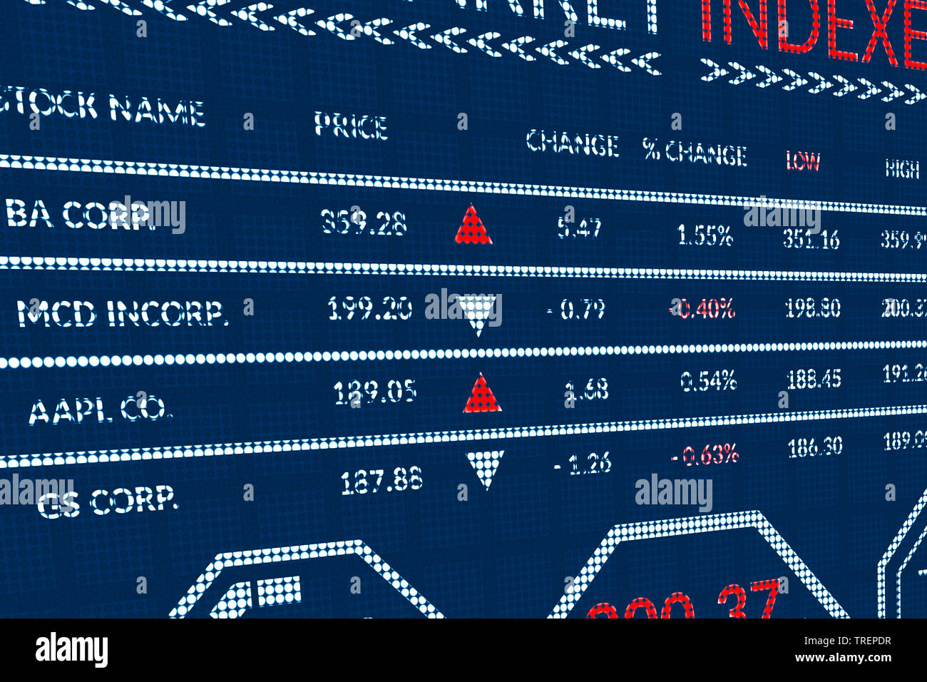 Stock market indexes or forex trade data on pixels screen. Perspective view of display monitor or information table with graphs, charts, indexes - Stock Image