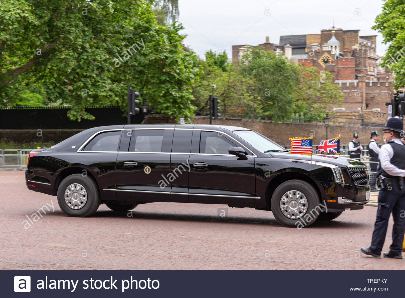 US President Donald Trump is driven from St. James's Palace down The Mall, London, UK to No.10 Downing Street to meet with Theresa May. He travelled in the second 'Beast' within the motorcade - Stock Image