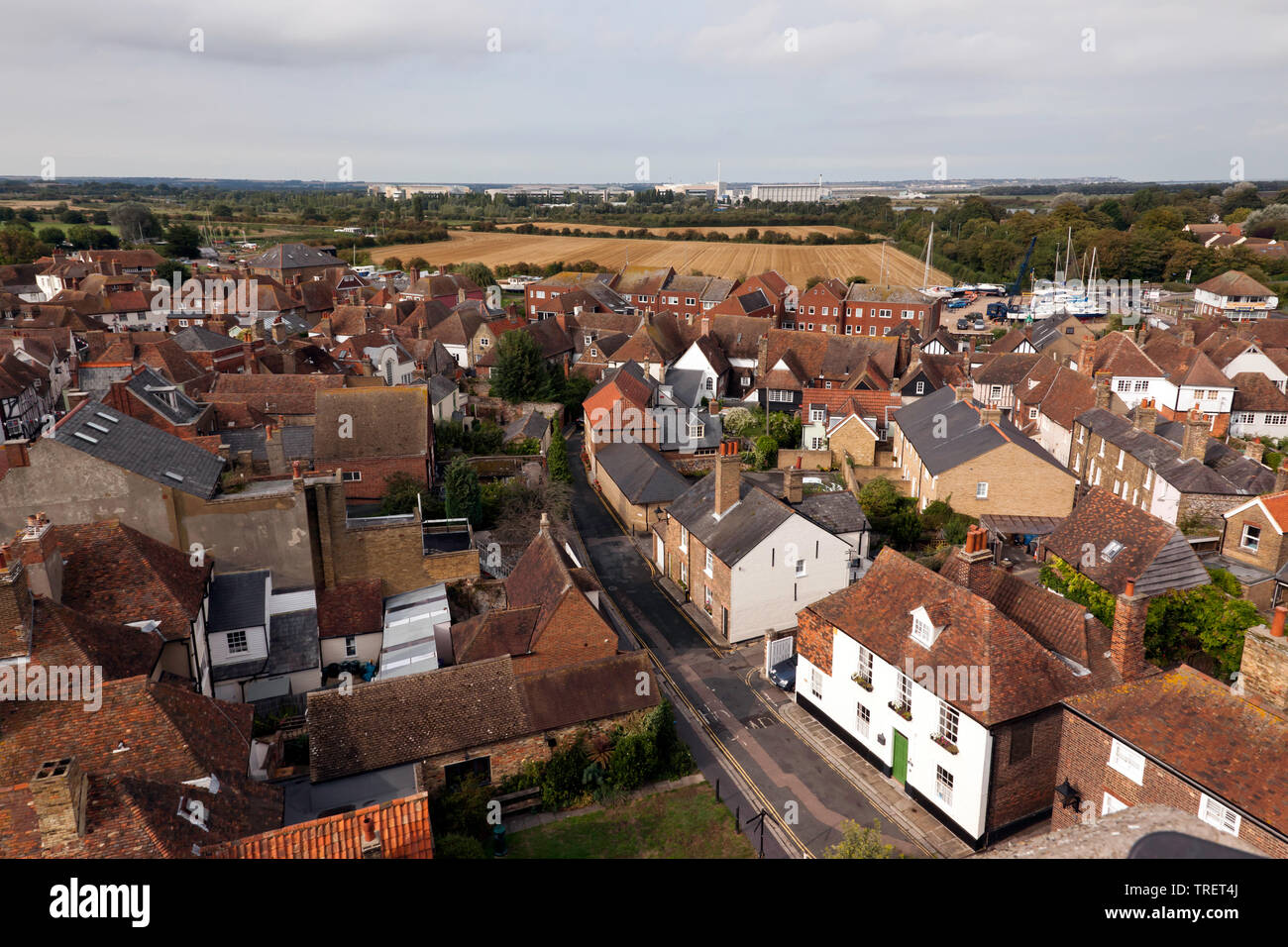 Wide-Angle, aerial view looking Towards the  Discovery Park,  Taken from the top of the tower of St Peters Church, Sandwich, Kent - Stock Image