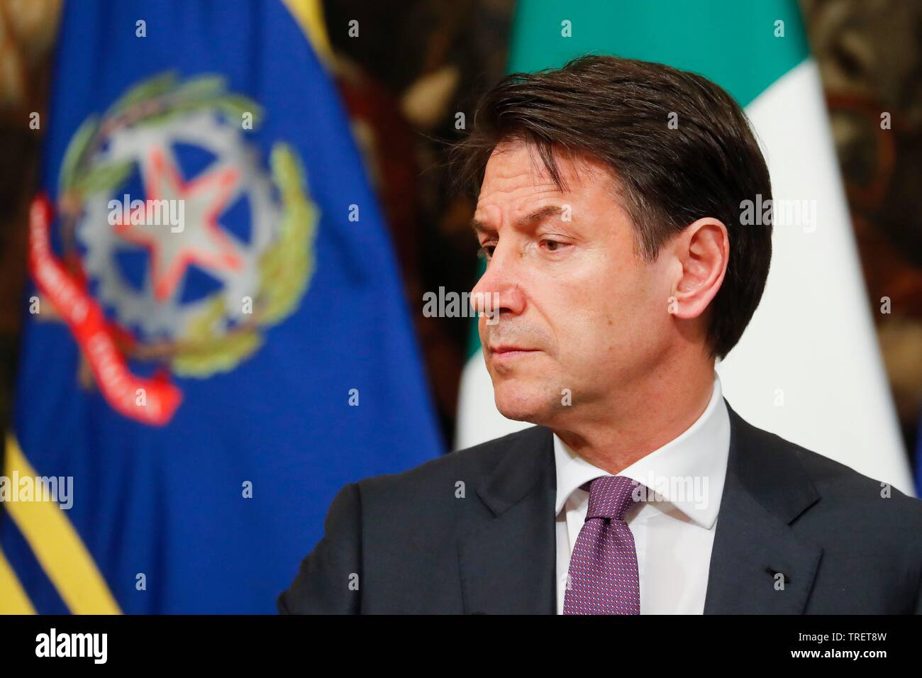 Italy, Rome, June 3, 2019 : Italian Prime Minister Giuseppe Conte holds a press conference. Giuseppe Conte warned the two ruling coalition parties to - Stock Image