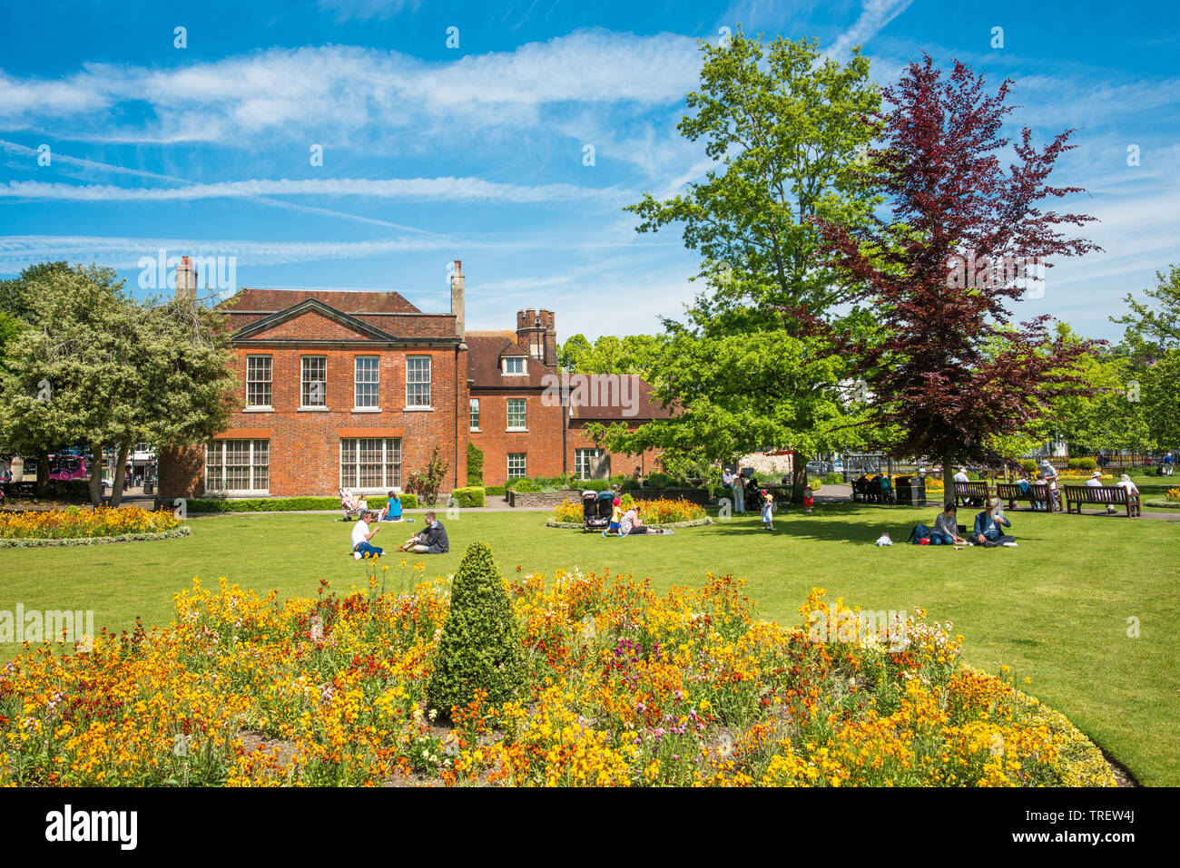 Abbey Gardens with Abbey House, Winchester, Hampshire, England, UK - Stock Image