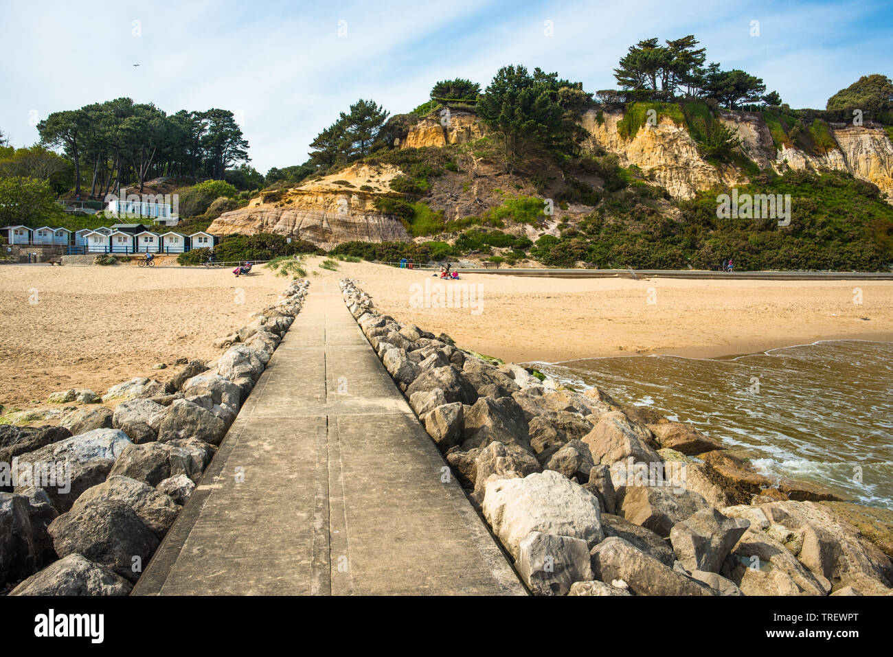 Stone Groynes on Branksome Dene Chine beach near Bournemouth in Dorest, England, UK. - Stock Image