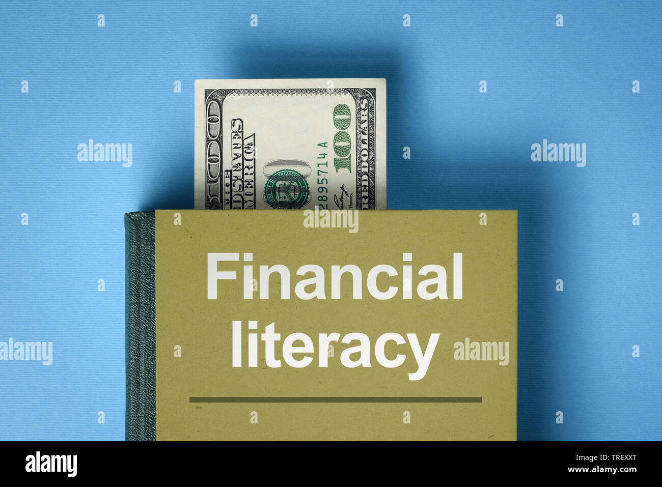 The concept of financial literacy. A book with knowledge about money and investments. Bookmark from the dollar bill - Stock Image