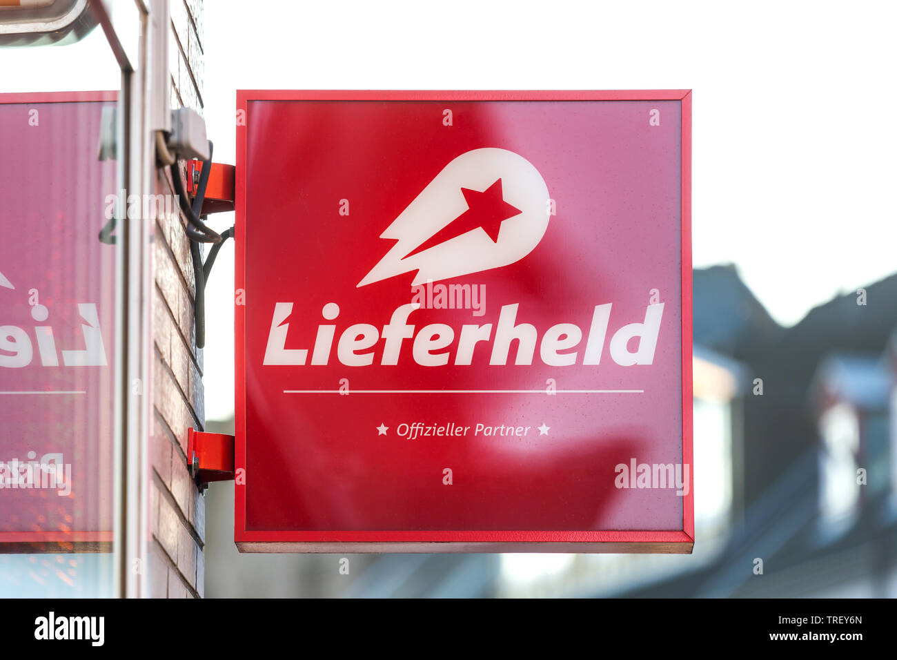 troisdorf, North Rhine-Westphalia/germany - 16 11 18: lieferheld sign in troisdorf germany - Stock Image
