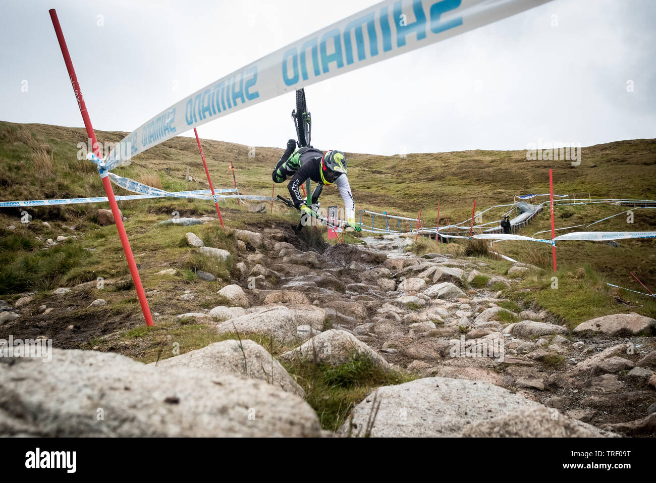 Downhill mountain bike crash sequence - rider Adam Brayton at the UCI Mountain Bike World Cup in Fort William 2019 during practice 12 images  5/12 - Stock Image
