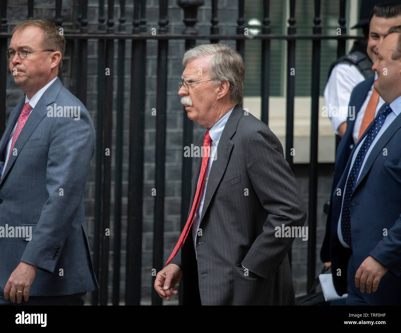 10 Downing Street, London, UK. 4th June 2019. On day 2 of the State Visit of the President and First Lady of the USA, US National Security Advisor John Bolton (centre) arrives in Downing Street for talks. Credit: Malcolm Park/Alamy Live News. Stock Photo