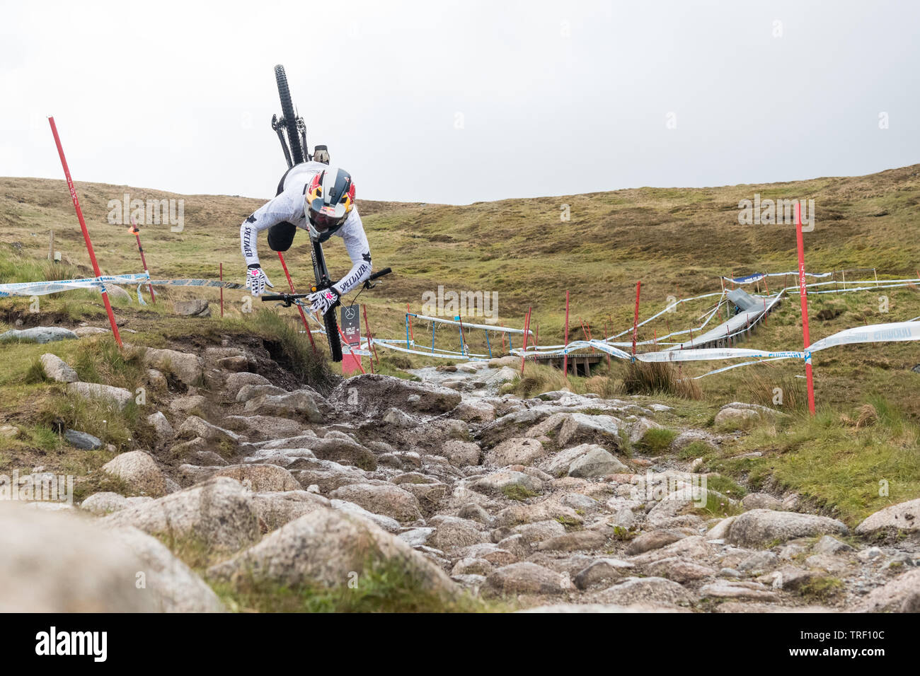 Finn Iles crash sequence during practice run - UCI Mountain Bike World Cup at Fort William, Scotland - series of 13 images  image 6/13 - Stock Image