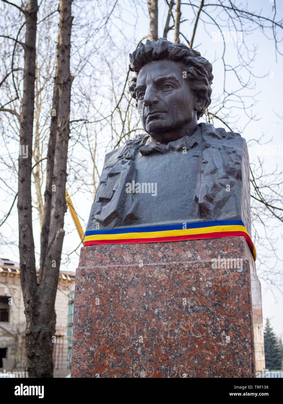 CHISINAU, MOLDOVA-MARCH 21, 2019: George Calinescu bust by Serghei Ganenko in the Alley of Classics - Stock Image