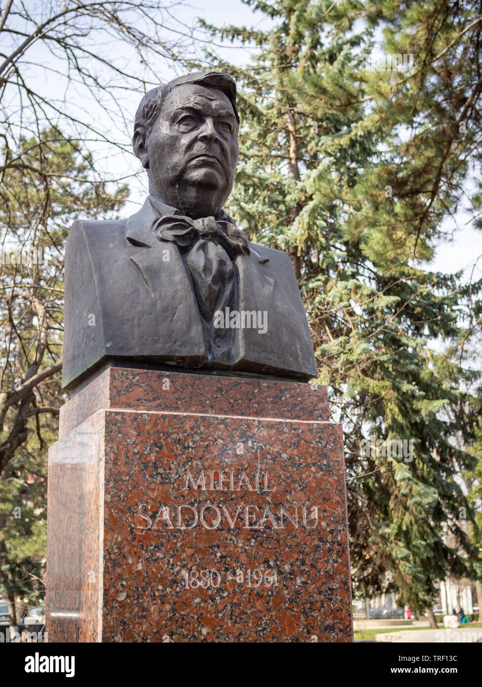 CHISINAU, MOLDOVA-MARCH 21, 2019: Mihail Sadoveanu bust in the Alley of Classics - Stock Image