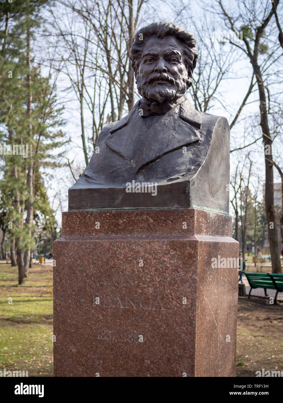CHISINAU, MOLDOVA-MARCH 21, 2019:  Ion Creanga bust by Lev Averbuh the in Alley of Classics - Stock Image