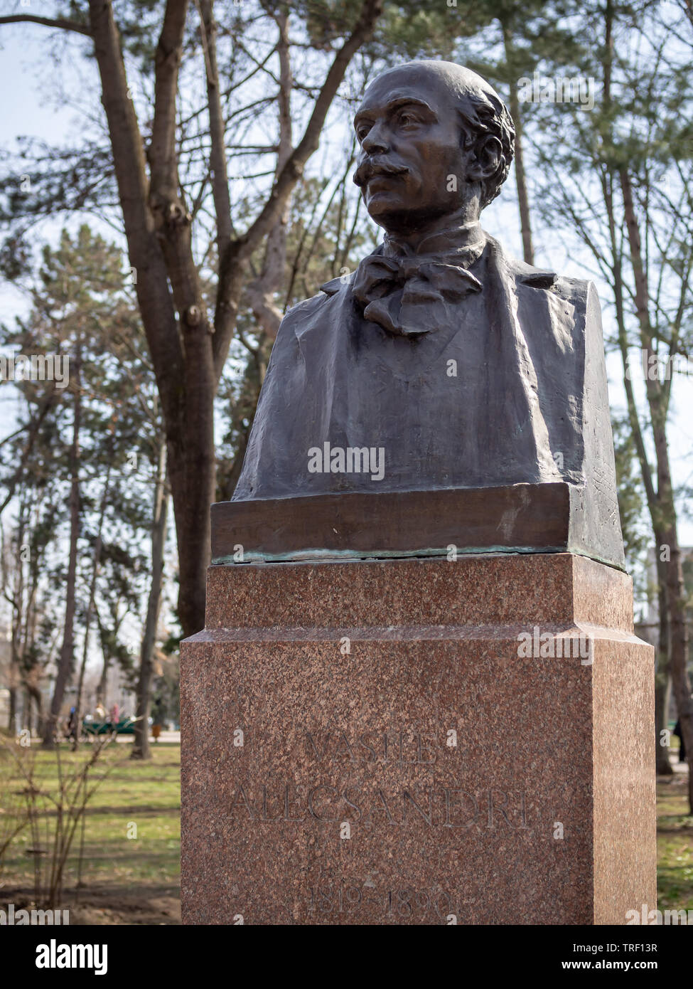 CHISINAU, MOLDOVA-MARCH 21, 2019:  Vasile Alecsandri bust by Lazar Dubinovschi in the Alley of Classics - Stock Image