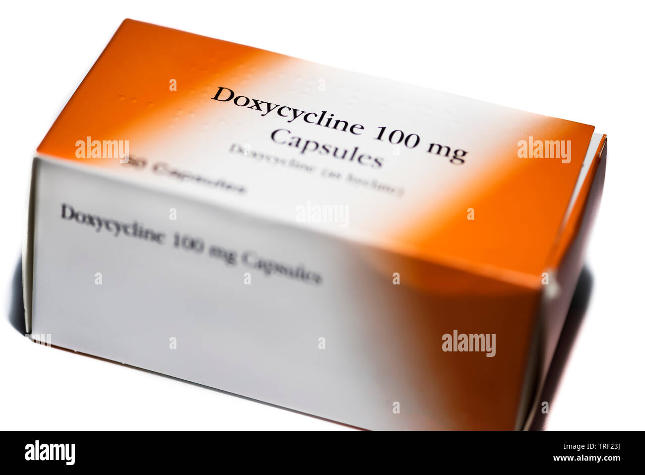 Box of Doxycycline capsules antimalarial prophelactic treatment to prevent malaria infection - Stock Image