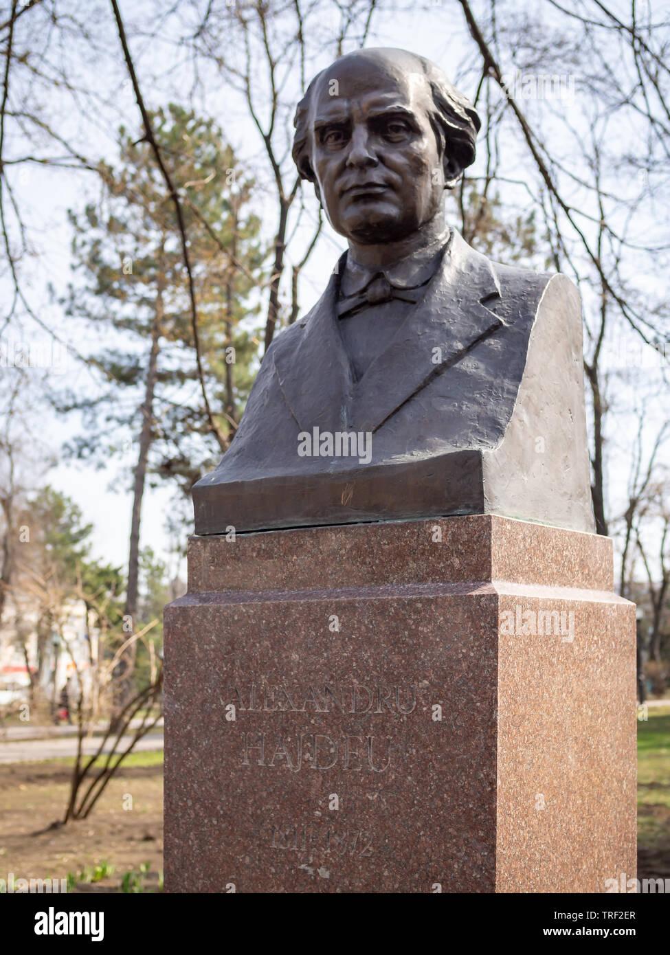 CHISINAU, MOLDOVA-MARCH 21, 2019:  Alexandru Hajdeu bust by Vladislav Krakoveak in the Alley of Classics - Stock Image