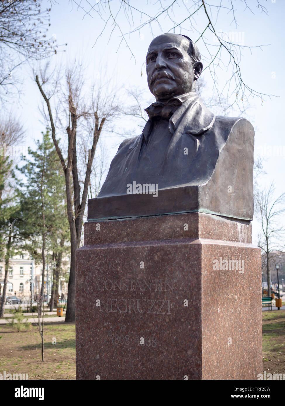 CHISINAU, MOLDOVA-MARCH 21, 2019:  Constantin Negruzzi bust by Lazar Dubinovschi & Aleksandr Maiko in the Alley of Classics - Stock Image