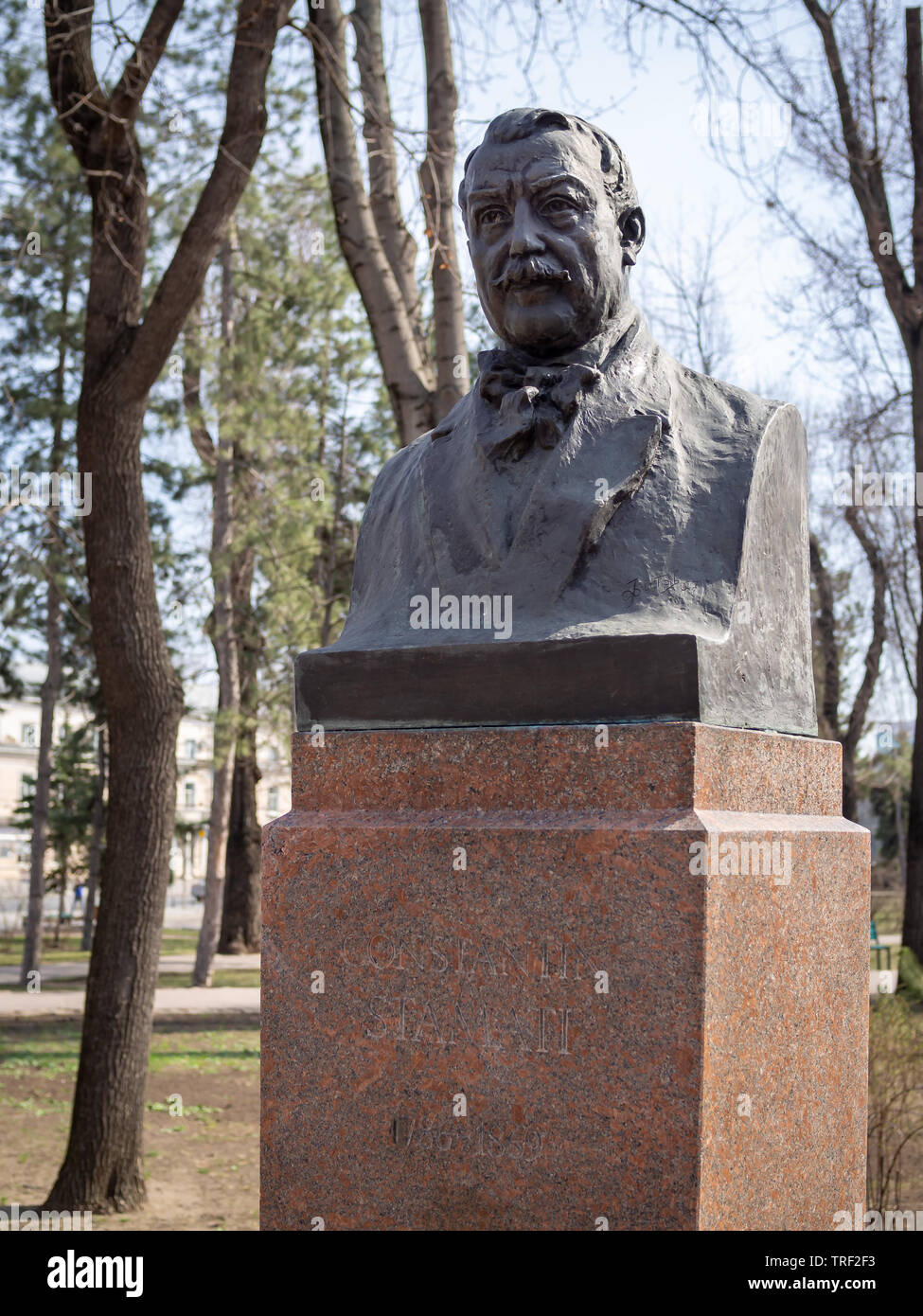 CHISINAU, MOLDOVA-MARCH 21, 2019:  Constantin Stamati bust by Leonid Fitov in the Alley of Classics - Stock Image