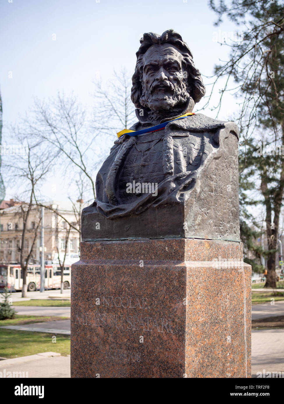 CHISINAU, MOLDOVA-MARCH 21, 2019:  Nicolae Milescu Spataru bust by Lev Averbuh in the Alley of Classics - Stock Image