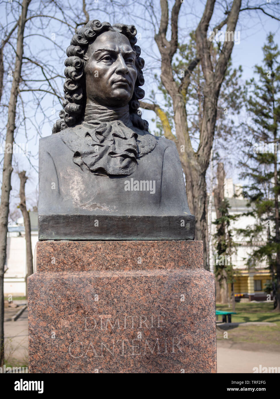 CHISINAU, MOLDOVA-MARCH 21, 2019:  Dimitrie Cantemir bust by Nikolay Gorenashev in the Alley of Classics - Stock Image