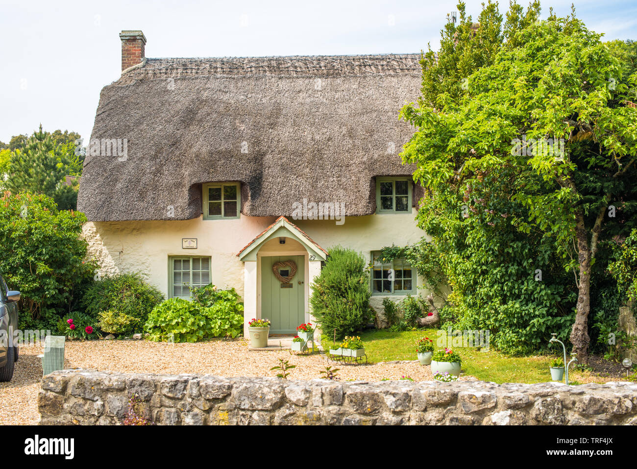 Characterful thatched cottages in the village of West Lulworth, Dorset, England. UK. - Stock Image